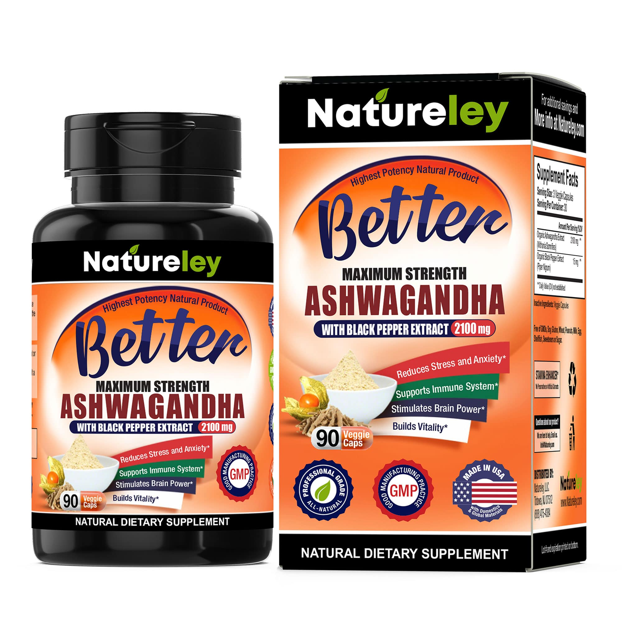 Organic Ashwagandha with Black Pepper Extract - 2100 mg 90 Caps