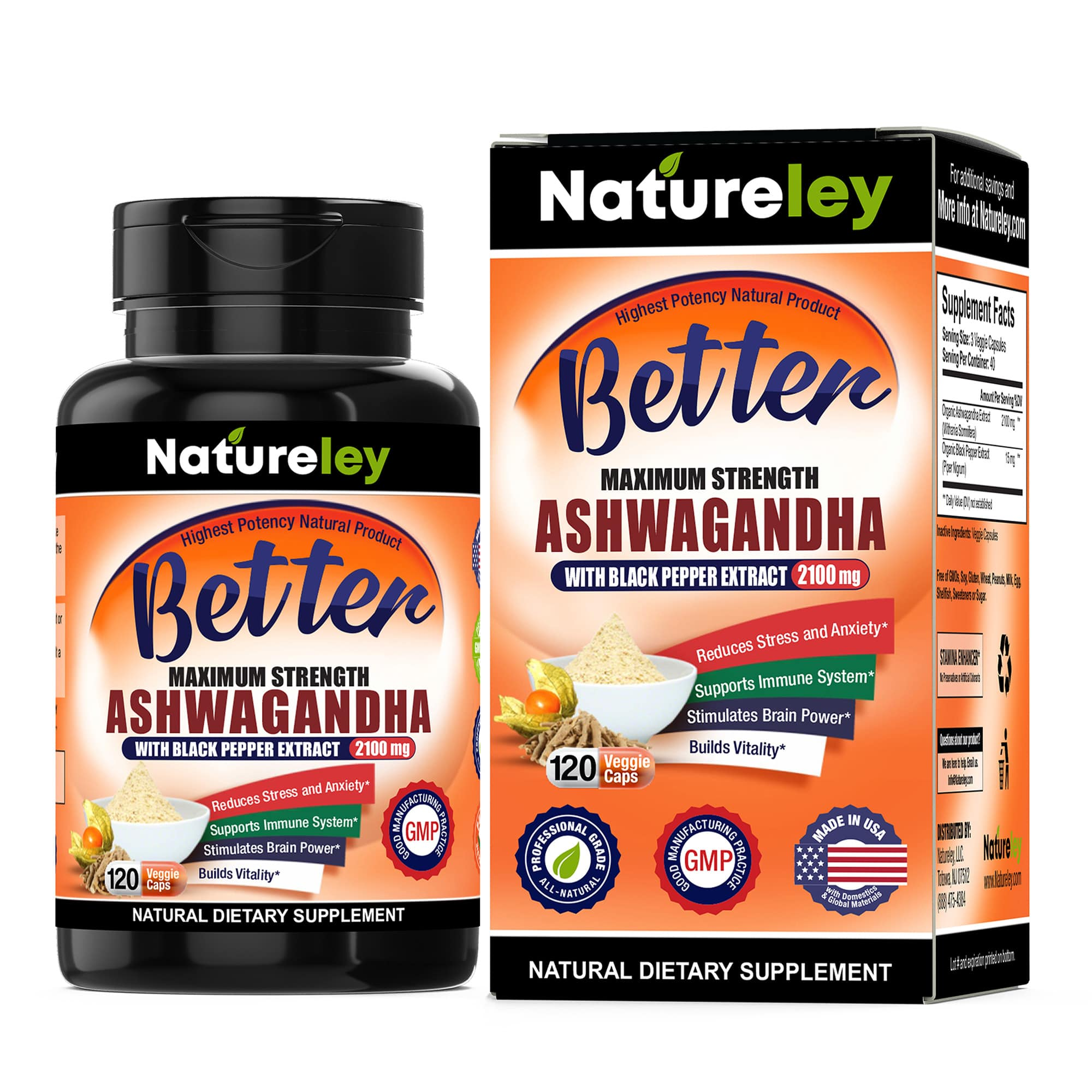 Organic Ashwagandha with Black Pepper Extract - 2100 mg 120 Caps