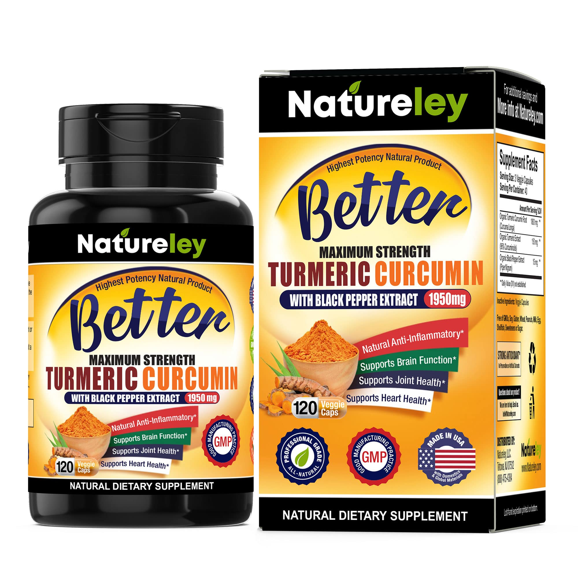 Organic Turmeric Curcumin with Black Pepper Extract - 1950 mg 120 Caps