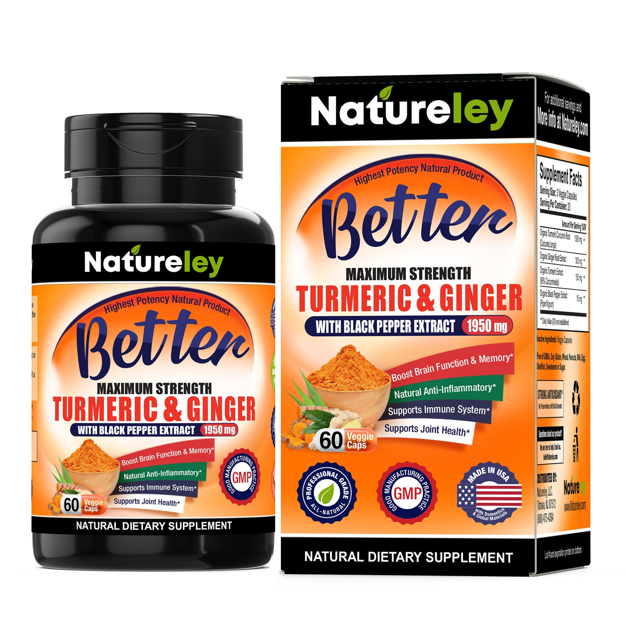 Organic Turmeric & Ginger with Black Pepper Extract - 1950 mg 60 Caps